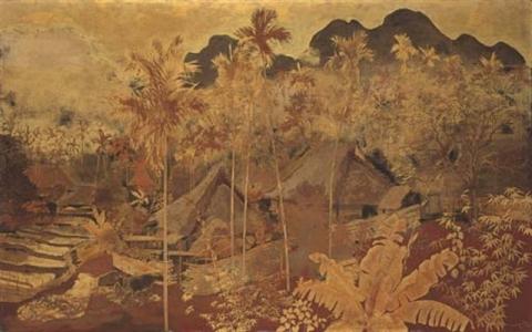 """Village Scene In Vietnam, Lacquer On Panel, 1941"""